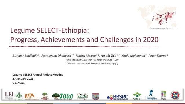 Better lives through livestock Legume SELECT-Ethiopia: Progress, Achievements and Challenges in 2020 Birhan Abdulkadir*, A...