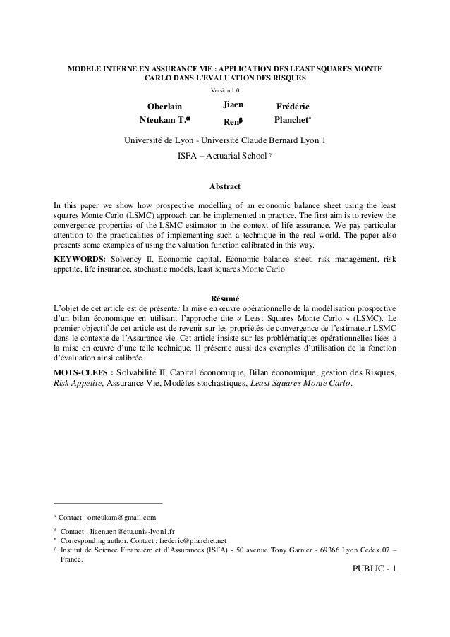PUBLIC - 1 MODELE INTERNE EN ASSURANCE VIE : APPLICATION DES LEAST SQUARES MONTE CARLO DANS L'EVALUATION DES RISQUES Versi...