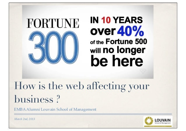 How is the web affecting yourbusiness ?EMBA Alumni Louvain School of ManagementMarch 2nd, 2013