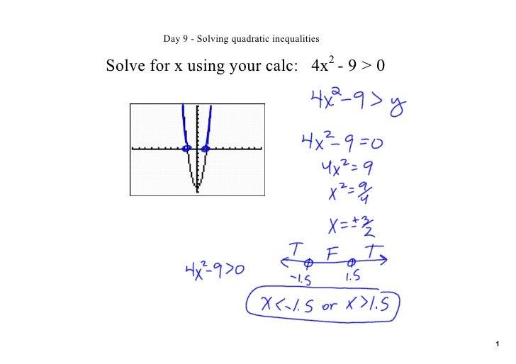 Day9Solvingquadraticinequalities                                                   2 Solveforxusingyourcalc:...