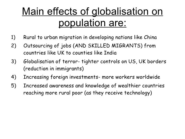 the effects of globalisation on labour This paper was prepared for the international policy group (ipg) unit of the international labour  making is difficult to separate the effects of globalisation.