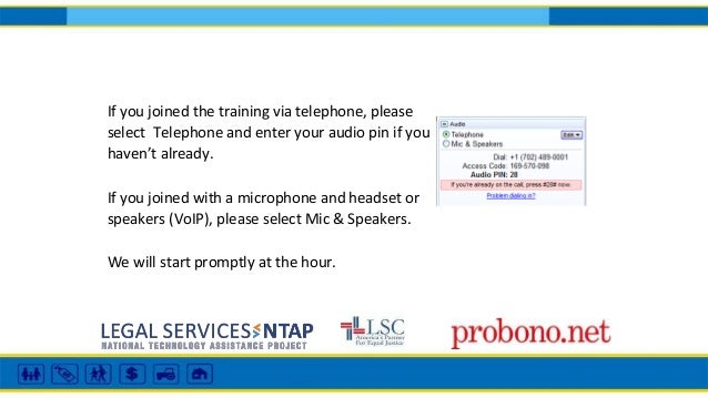 If you joined the training via telephone, please select Telephone and enter your audio pin if you haven't already. If you ...