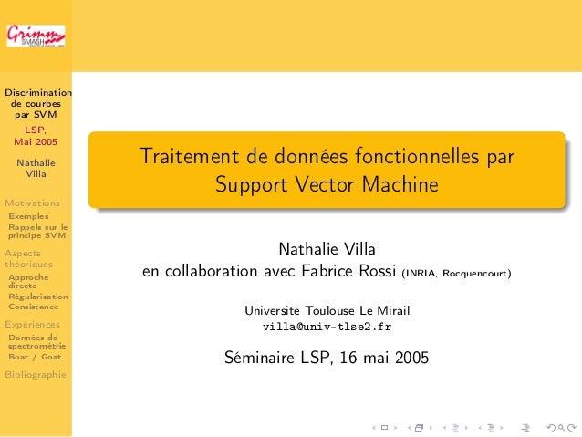 Discrimination  de courbes  par SVM  LSP,  Mai 2005  Nathalie  Villa  Motivations  Exemples  Rappels sur le  principe SVM ...