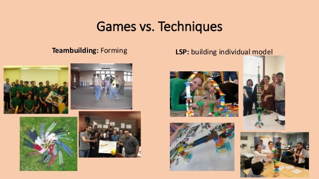 Games vs. Techniques Teambuilding: Forming LSP: building individual model