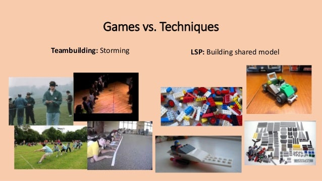 Games vs. Techniques Teambuilding: Storming LSP: Building shared model