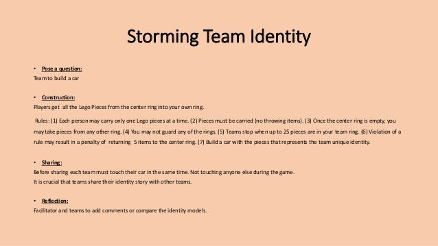 Storming Team Identity • Pose a question: Team to build a car • Construction: Players get all the Lego Pieces from the cen...