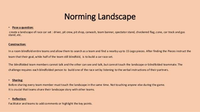 Norming Landscape • Pose a question: create a landscape of race car set : driver, pit crew, pit shop, carwash, team banner...