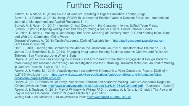 Further Reading Ashton, S. & Stone, R. (2018) An A-Z of Creative Teaching in Higher Education. London: Sage. Brown, N. & C...