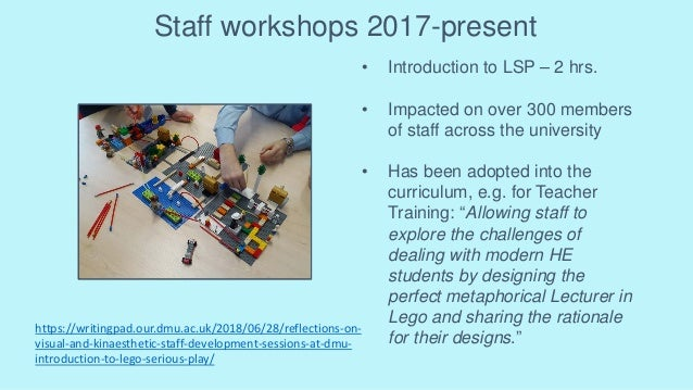 Staff workshops 2017-present • Introduction to LSP – 2 hrs. • Impacted on over 300 members of staff across the university ...