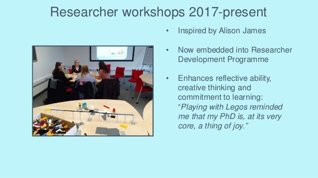 Researcher workshops 2017-present • Inspired by Alison James • Now embedded into Researcher Development Programme • Enhanc...