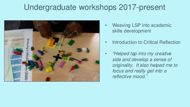 Undergraduate workshops 2017-present • Weaving LSP into academic skills development • Introduction to Critical Reflection ...