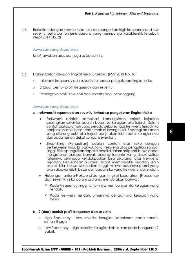 Soal-Jawab Ujian LSPP - AAMAI - 101 - Praktek Asuransi, 2006 s.d. September 2015 6 Bab 1: Relationship between Risk and In...