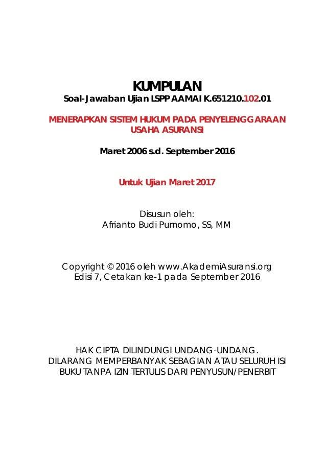 LSPP AAMAI 102 - Hukum Asuransi, Edisi Maret 2017 Slide 2