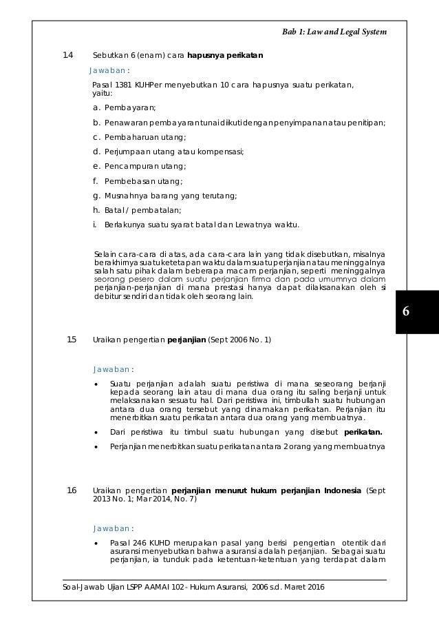 Soal Jawab Ujian Lspp Aamai 102 Hukum Asuransi Edisi September 201