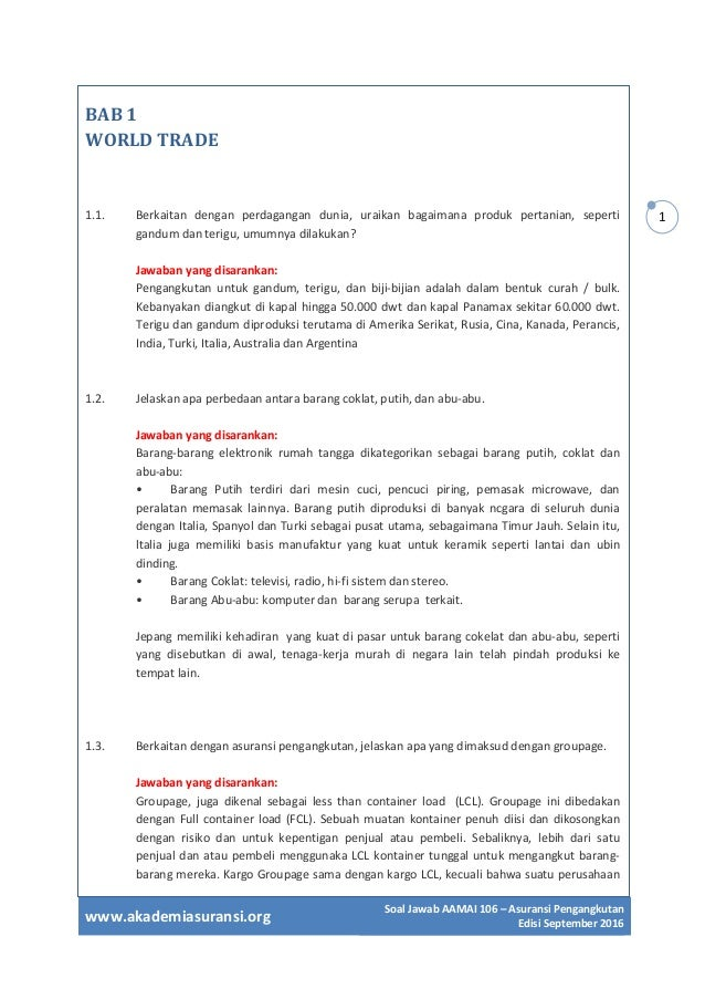 Soal Jawab Ujian Lspp Aamai 106 Asuransi Pengangkutan Edisi Septem