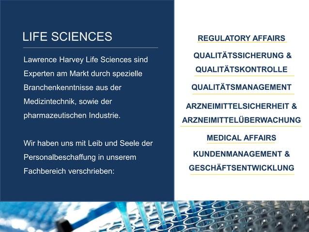 LIFE SCIENCES  Lawrence Harvey Life Sciences sind Experten am Markt durch spezielle Branchenkenntnisse aus der Medizintech...
