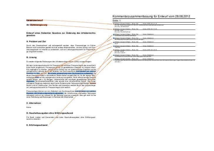 Kommentarzusammenfassung für Entwurf vom 28.08.2012Gesetzentwurf                                                          ...