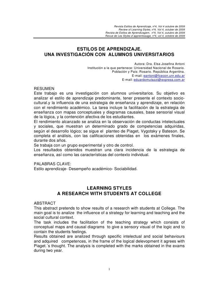 Revista Estilos de Aprendizaje, nº4, Vol 4 octubre de 2009                                                   Review of Lea...