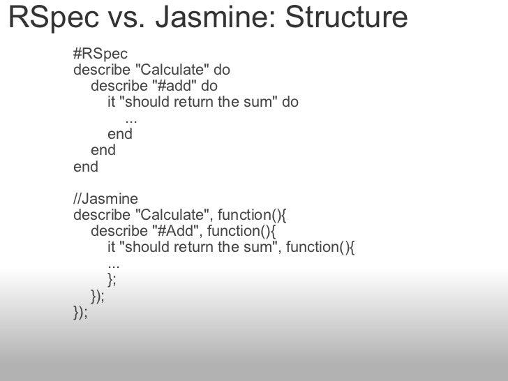 """RSpec vs. Jasmine: Structure #RSpec describe """"Calculate"""" do   describe """"#add"""" do    it """"..."""