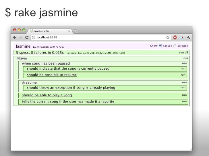 $ rake jasmine
