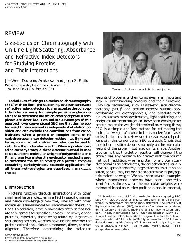ANALYTICAL BIOCHEMISTRY 240, 155–166 (1996) ARTICLE NO. 0345 REVIEW Size-Exclusion Chromatography with On-Line Light-Scatt...