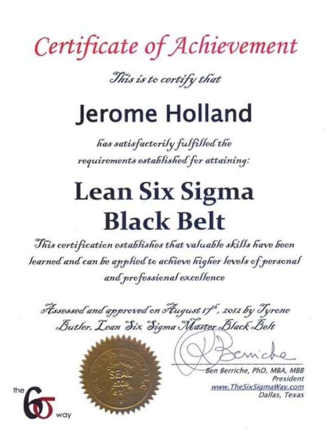 six sigma black belt certificate template - lean six sigma black belt certificate