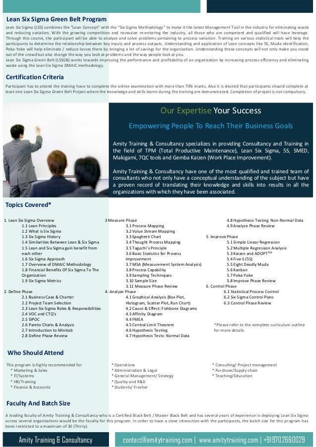 Online Lean Six Sigma Green Belt Training And Certification Program B