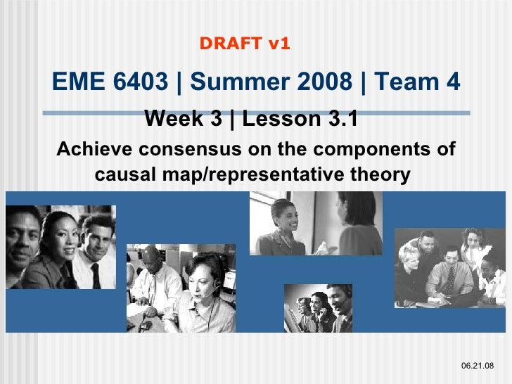 EME 6403 | Summer 2008 | Team 4 Week 3 | Lesson 3.1   Achieve consensus on the components of causal map/representative the...