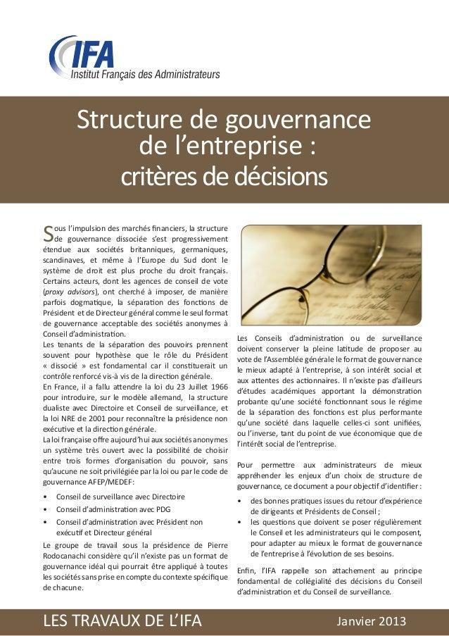 Structure de gouvernance                de l'entreprise :              critères de décisionsS   ous l'impulsion des marché...