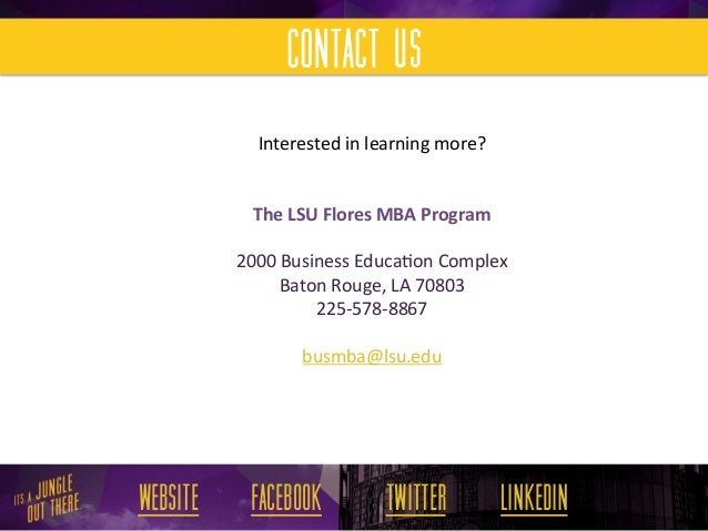 Lsu Flores Mba Internal Audit Specialization
