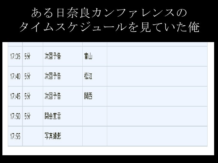 ある日奈良カンファレンスのタイムスケジュールを見ていた俺