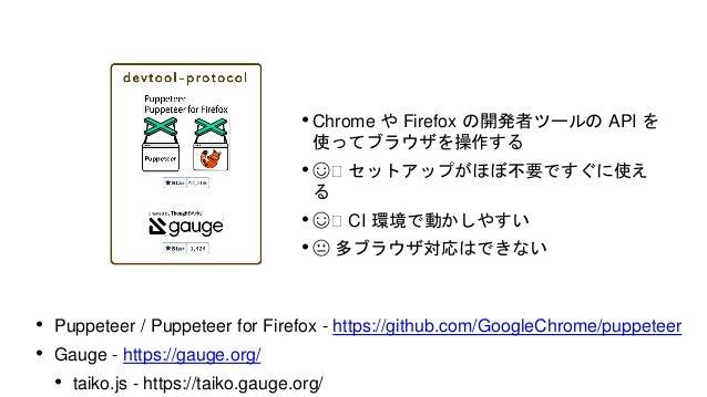 • ブラウザの動きを Node.js で再現! • ☺️ ブラウザでしか動かない単体テストを CI上で気軽に実行できる • 😐 本物のブラウザではないので用途を選ぶ • Zombie.js - http://zombie.js.org/