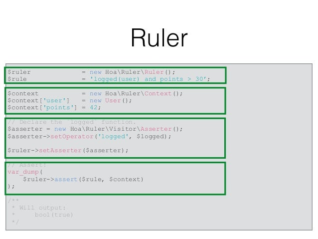 """RulerZ $highRankFemalesRule = 'gender = """"F"""" and points > 9000'; // or an array of objects $playersObj = [ new Player('Joe'..."""