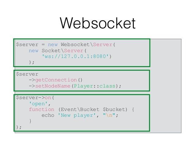 Websocket $server->on( 'message', function (EventBucket $bucket) use ($scores) { //… if (false === $message = @json_decode...
