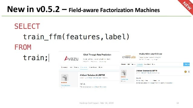 New in v0.5.2 – Field-aware Factorization Machines Hadoop Conf Japan - Mar 14, 2019 14