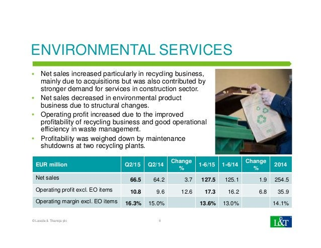 ENVIRONMENTAL SERVICES Net sales increased particularly in recycling business, mainly due to acquisitions but was also con...