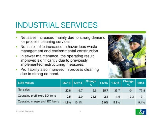 INDUSTRIAL SERVICES Net sales increased mainly due to strong demand for process cleaning services. Net sales also increase...