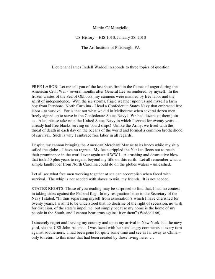 Martin CJ Mongiello                            US History – HIS 1010, January 28, 2010                                The ...