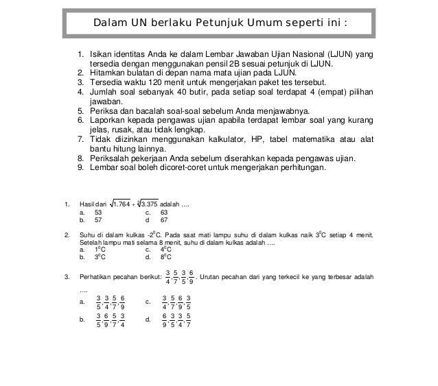 WWW.UJIANNASIONAL.ORG Mata Pelajaran : Matematika Latihan Soal Ujian Nasional 2011 Sekolah Menengah Pertama / Madrasah Tsa...
