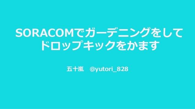 SORACOMでガーデニングをして ドロップキックをかます 五十嵐 @yutori_828