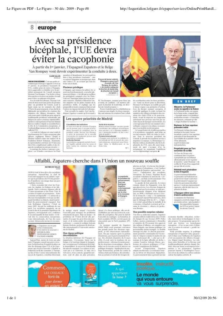 Le Figaro en PDF - Le Figaro - 30 déc. 2009 - Page #8   http://lequotidien.lefigaro.fr/epaper/services/OnlinePrintHandl...1...