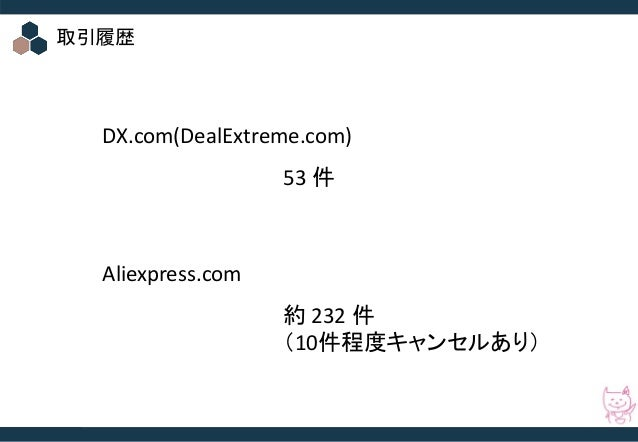 © 2016 Startia, Inc. All Rights Reserved. 取引履歴 DX.com(DealExtreme.com) Aliexpress.com 53 件 約 232 件 (10件程度キャンセルあり)