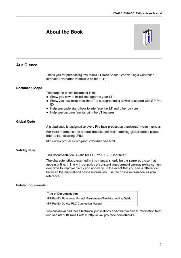 Manuel en Anglais LT 4000 series Hmi Hybride, écran Tactile
