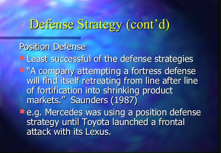 """Defense Strategy (cont'd)Position Defense Least successful of the defense strategies """"A company attempting a fortress de..."""
