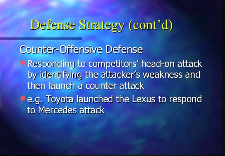 Defense Strategy (cont'd)Counter-Offensive Defense Responding to competitors' head-on attack  by identifying the attacker...