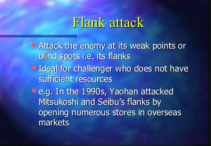 Flank attack Attack the enemy at its weak points or  blind spots i.e. its flanks Ideal for challenger who does not have ...