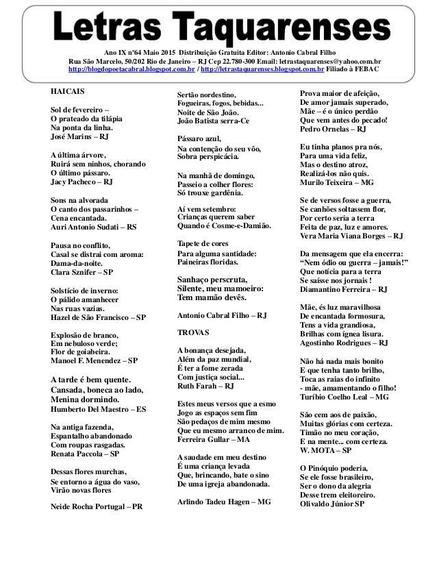 Ano IX nº64 Maio 2015 Distribuição Gratuita Editor: Antonio Cabral Filho Rua São Marcelo, 50/202 Rio de Janeiro – RJ Cep 2...