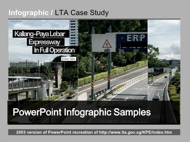 Infographic /  LTA Case Study 2003 version of PowerPoint recreation of  http://www.lta.gov.sg/KPE/index.htm