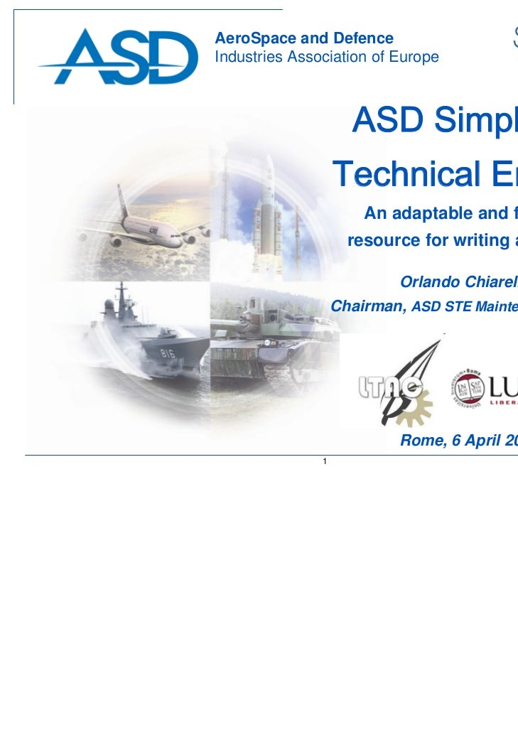 AeroSpace and DefenceIndustries Association of Europe                     ASD Simplified                   Technical Engli...