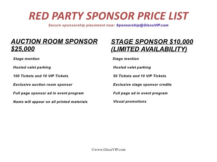 GlossVIP.com; 4. RED PARTY SPONSOR ...